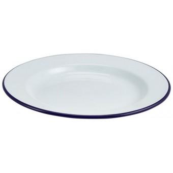 Enamel Wide Rim Plate White...