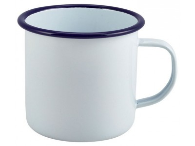 Enamel Mug White with Blue Rim...
