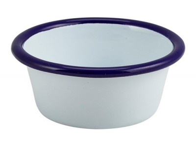 Enamel Ramekin White with Blue Rim...