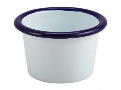 Enamel Ramekin White with Blue Rim...