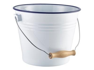 Enamel Bucket White with Blue Rim...