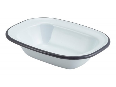 Enamel Rect. Pie Dish White with Grey...