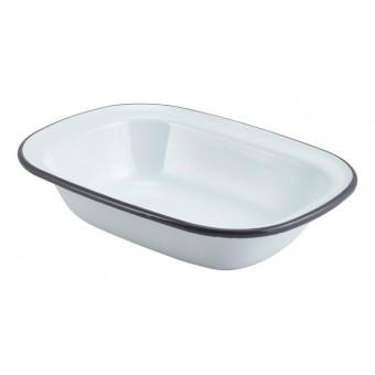 Enamel Rect. Pie Dish White...