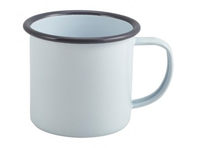 Enamel Mug White with Grey Rim...