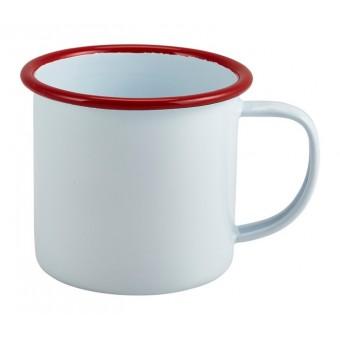 Enamel Mug White with Red...
