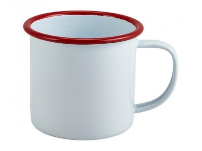 Enamel Mug White with Red Rim...