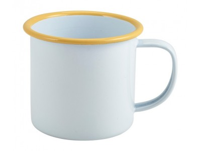 Enamel Mug White with Yellow Rim...