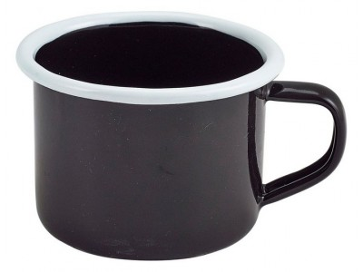 Enamel Mug Black with White Rim...