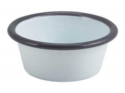 Enamel Ramekin White with Grey Rim...