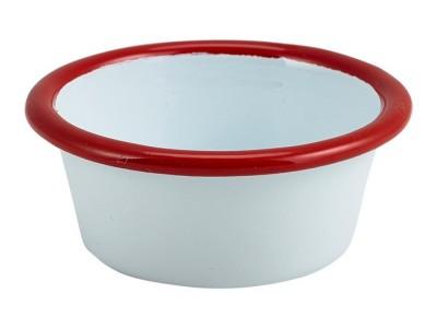 Enamel Ramekin White with Red Rim 8cm...