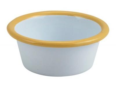 Enamel Ramekin White with Yellow Rim...