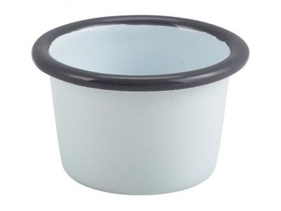 Enamel Ramekin White with Grey Rim...