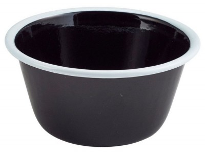 Enamel Deep Pie Dish Black with White...