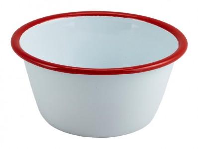 Enamel Round Deep Pie Dish White with...