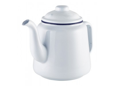 Enamel Teapot White with Blue Rim 1L