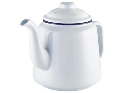 Enamel Teapot White with Blue Rim 1.5L
