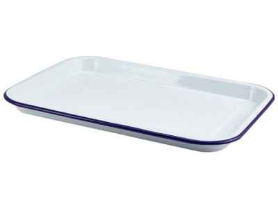 Enamel Serving Tray White with Blue...