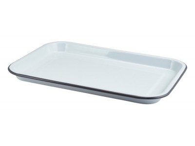 Enamel Serving Tray White with Grey...