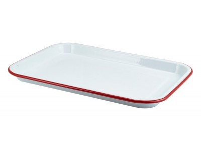 Enamel Serving Tray White with Red...