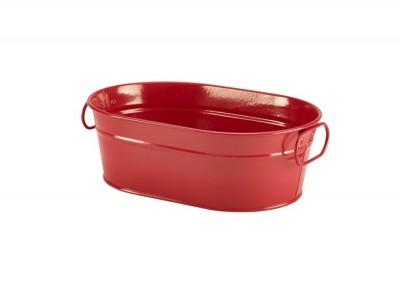 Galvanised Steel Serving Bucket Red...