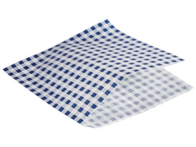 Greaseproof Paper Bags Blue Gingham...