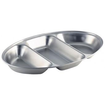 S/St.3 Div.Oval Veg Dish...