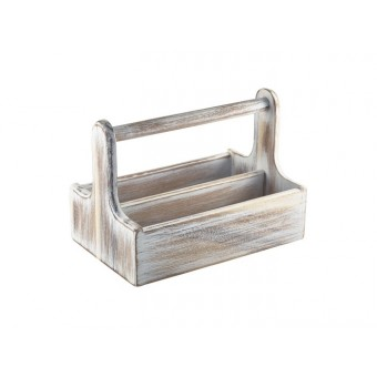White Wooden Table Caddy