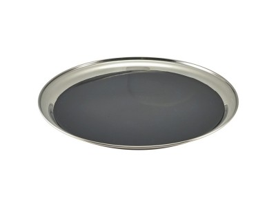 Non Slip Stainless Steel Round Tray 12""