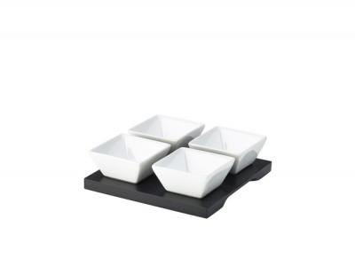 Black Wood Dip Tray Set 15 x 15cm W/...