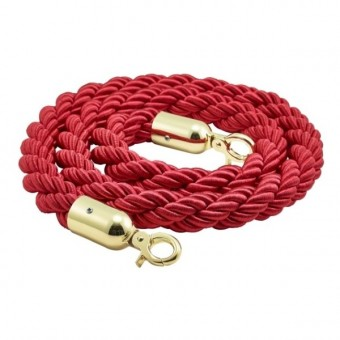 Barrier Rope Red- Brass...