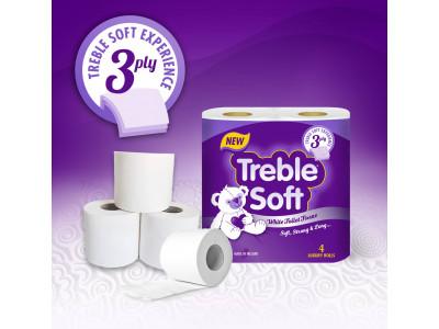 Treble Soft 3 Ply Luxury Toilet Roll