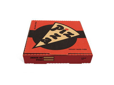 """Pizza Box 14"""" Red and Black"""